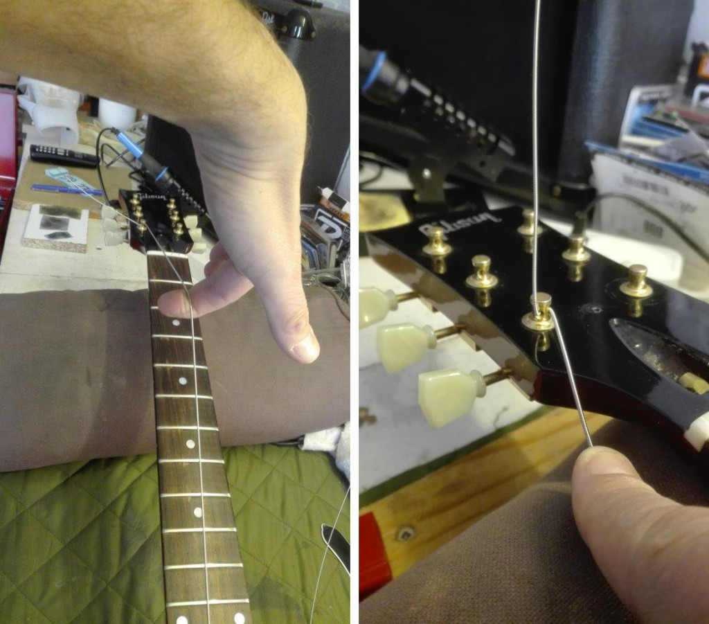Lifting the guitar up / preparing for string winding